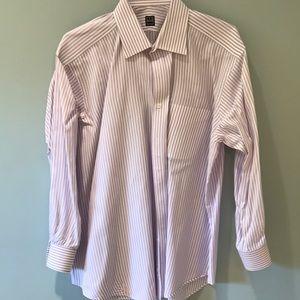 Ike Behar purple and white striped shirt